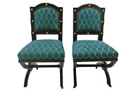 Peacock Blue Chair Vintage Peacock Blue Side Chairs Pair Omero Home