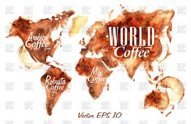 Free Vector World Map by World Map Of Coffee Arabica And Robusta Coffee Vector Image