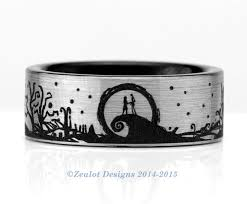 nightmare before christmas wedding rings nightmare before christmas landscape wrap around tungsten wedding