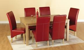 belgrade wooden dining set with 6 dining chairs in red 1577