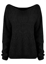 fashion shoulder ribbed knit pullover sweater oasap