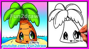 how to draw summer cartoons cute easy beach palm tree fun2draw