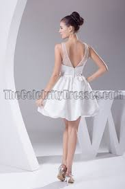 cute mini white a line v neck party homecoming dresses