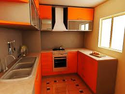 best two tone kitchen cabinets orange color for small kitchen