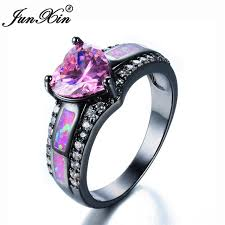 amethyst heart rings images Junxin romantic female princess pink fire opal heart ring black jpg