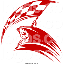 Checkered Racing Flags Royalty Free Clip Art Vector Logo Of A Red Grim Reaper With A