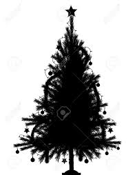 black christmas tree editable vector silhouette of a detailed christmas tree with