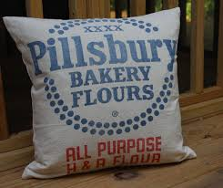 vintage flour sack pillow pillsbury bakery h u0026 r flour red