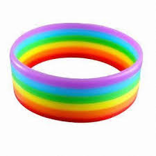 silicone wrist bracelet images Election promotional silicone wristband rainbow flag stripe color jpg