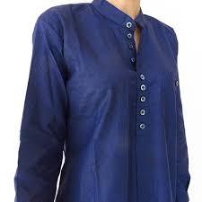 blue handwoven women u0027s grandad collar shirt dress cotton conscious