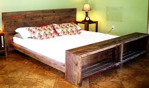 Wood Bed Frames And Headboards by Rustic Brown Wooden Bed Frame With Headboard And Shelves Completed