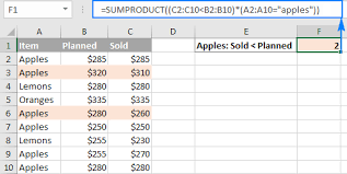 excel sumproduct function with multiple criteria formula examples