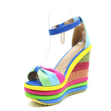 genshuo 2018 summer bohemia rainbow peep toe platform sandals
