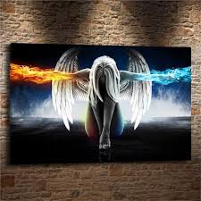 abstract woman colourful angel wings home decor hd printed modern