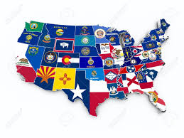 Commonwealth Flags Usa State Flags On 3d Map Stock Photo Picture And Royalty Free