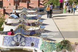 Serpentine Bench Curved Wall Seats At The Park Guell Barcelona Stock Photo Getty