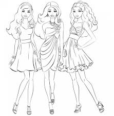 barbie and friends going shopping girls coloring page coloring