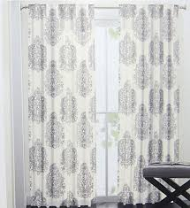 nicole miller medallion pair of curtains grey white ash gray