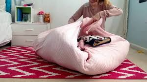 diy no sew beanbag chair sitting area youtube