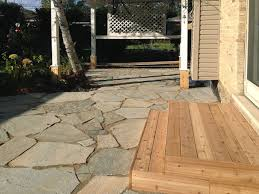 flagstone patio in park ridge landscaping and hardscaping brick