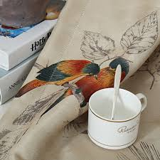 Coffee Print Kitchen Curtains Vintage Birds Print Country Curtains For Living Room Bedroom