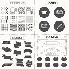 graduation cap for sale seamless patterns sale tags labels pencil and open book icons