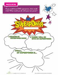 my superpower superpower writing prompts and worksheets