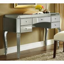 Mirrored Desks Furniture Metallic Silver Finish Mirrored Desk Free Shipping Today