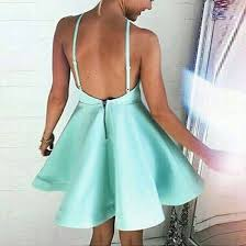 a line spaghetti straps backless short mint green satin homecoming