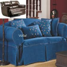 dual reclining loveseat slipcover denim blue jeans adapted for