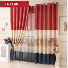 Custom Linen Curtains Red Blue Color Block Cartoon Linen Curtains For Living Room Kids