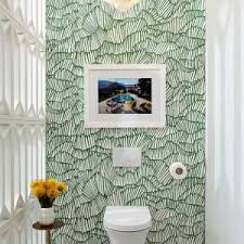 dallas jonathan adler greek key wallpaper powder room midcentury