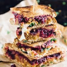vegetarian meatloaf and cranberry thanksgiving leftover sandwich