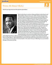 know all about mlkj u2013 free social studies u0026 reading worksheet