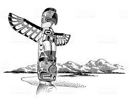 totem pole in landscape stock vector art 132074224 istock