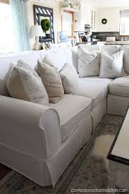 Sofa With Chaise Slipcover Sectional Slip Cover Reveal Confessions Of A Serial Do It Yourselfer
