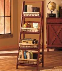 Storage Bookshelf Ladder Shelf Bookcase U0026 Baskets Leaning 4 Tier Storage Bookshelf