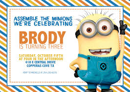 Create Birthday Invitation Cards Minions Birthday Invitations Kawaiitheo Com