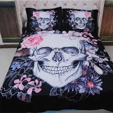 3d skull bedding set flower duvet cover europe style cartoon queen