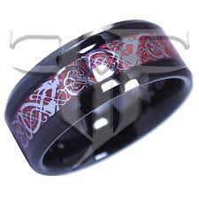 red silver rings images Silver celtic dragon black tungsten ring red carbon fiber jpg