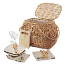 wine picnic baskets eco picnic basket eco friendly set with recycled wine glasses