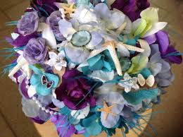 wedding bouquets with seashells wedding seashell lavender and purple bridal bouquet with