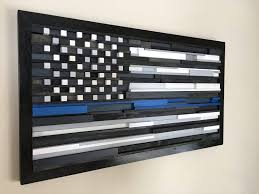 Thin Blue Line Flag Thin Blue Line Wooden Slat Flag