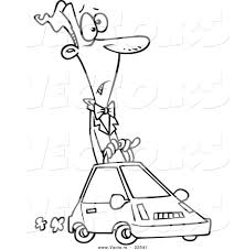 vector of a cartoon man driving a compact car coloring page