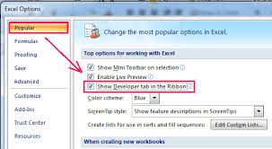 how to show display developer tab in excel 2007 2010 2013 ribbon