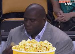 Meme Eating Popcorn - magic johnson likes his popcorn and the lakers a lot