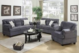 Chair Sets For Living Room F7916 Sofa Loveseat Chair Set In Grey Fabric By Poundex