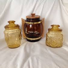 3 mixed vintage amber glass canister cookie jar kitchen u2022 18 90