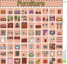 House Furniture Design Games by Furniture Set For Rooms Of House Game Objects Stock Illustration