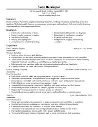 Resume For Factory Job by Best Assembler Resume Example Livecareer